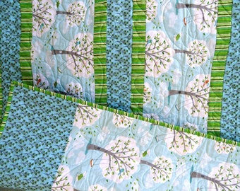 Baby Girl Quilt Trees Birds Dog Swing greens gray turquoise