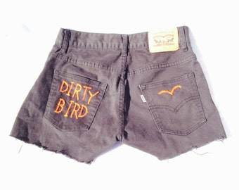 "The ""Dirty Bird"" Hand Embroidered Denim Shorts"