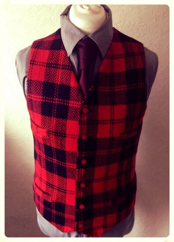 Wool Waistcoat Black and Red Winter Herringborne Check Heavy Vest Wedding Groom Party Tweed Mens Heavy wool vest