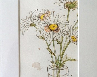 Original Watercolor - Daisy Bouquet - Ink and Watercolor Painting - Matted