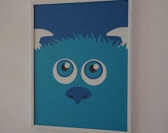 Disney Monsters Sulley Wall Hanging Decor, Nursery, baby room, Boys room