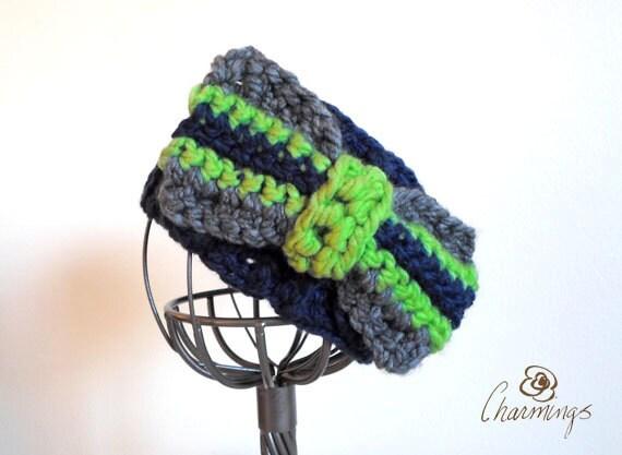 HEADBAND- Seahawks Navy Bow Crochet Headband, Ear Warmer, Ear Cozy, Ear Gator, Football, Team Color, Sport Fan Apparel, NFL