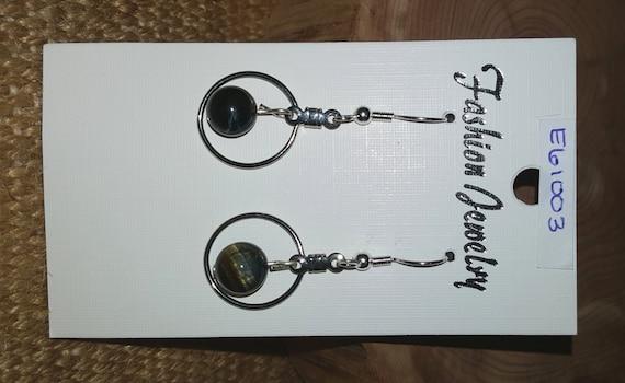 Dark Grey with Metal Circle Earrings / Grey and Brown Natural Stone Earrings/ Dangle Earrings / Hippie Earrings / Boho Jewelry / E61003