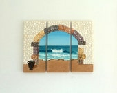 Triptych of Archway with Urn in Seashell Mosaic on Sand