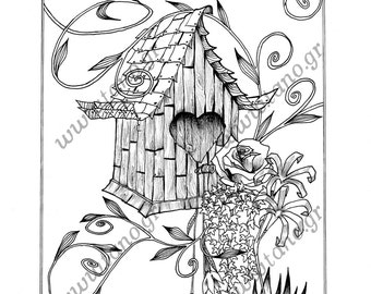 ADULT COLORING PAGES The Floral Birdhouse Instant Download Coloring For Adults