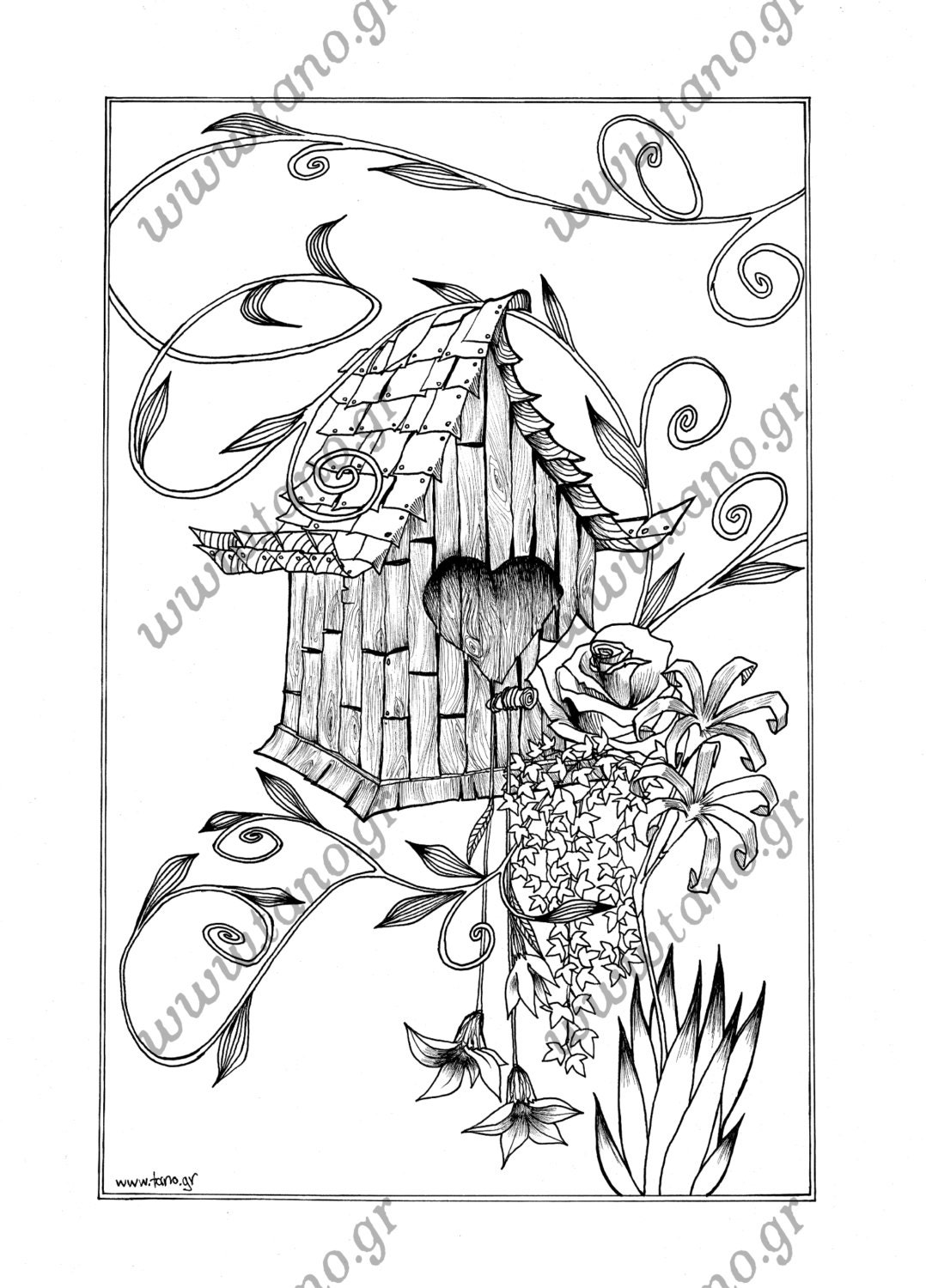 coloring pages the floral birdhouse instant