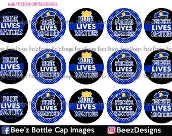 33% off SALE- INSTANT DOWNLOAD- Blue lives matter- 1inch Bottlecap Images- 4x6 Digital Collage Sheet