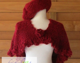 Deep Red Capelet and Beret / Handmade Crochet / Very Soft / Women's Gift Idea / Warm / Shawl / Hat / Wrap / Acrylic / Small / Medium / Large