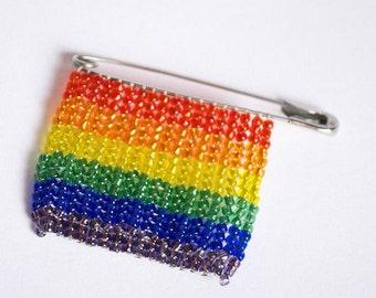Beaded Rainbow Pride Pin