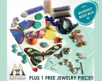 Beads and Findings 3 MONTHS Subscription Box - 500 PIECES !!! - Plus 1 FREE Jewelry Piece!!