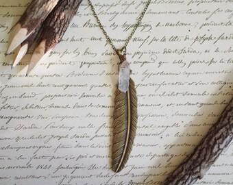 Large Feather Quartz Necklace
