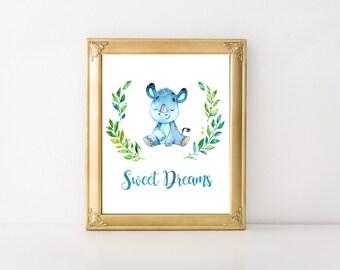 Sweet Dreams Print, Digital Print, Printable Art, Nursery Decor, Baby Print, Watercolor Print, Instant Download, Nursery Wall Art, Baby Art