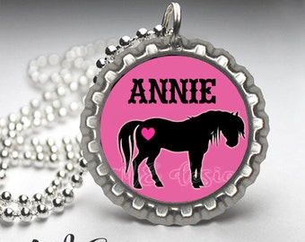 Pink Horse Personalized Bottlecap Necklace
