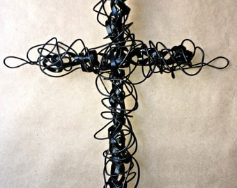 """Handmade Wire Cross   Black Wire around Black Flat Wire   """" Back in Black""""  part of the Faith Collection"""