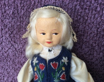 "Ronnaug Pettersen - Vare Merke 7 1/2"" Cloth Doll 'Made in Norway' 1970's"