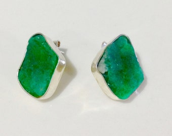 Earrings with Emerald rustic