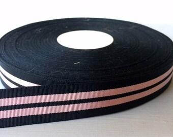 "7/8"" (23mm) preppy black&pink stripes grosgrain ribbon"