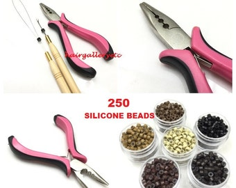 250 Silicone Micro Beads Feather Hair Extension Tool Kit Pliers Hook Loop USA