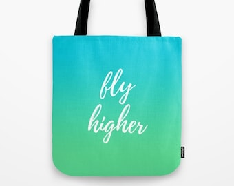 Cute Tote Bags, Motivational Quotes, Large Bag, Reusable Grocery Bag, Beach Tote Bag, Womens Totes, Blue Ombre, Green Purse