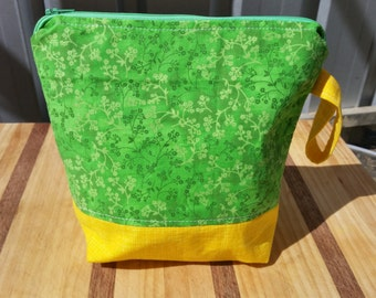 Small Project Bag Green Floral and Yellow