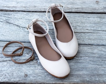 Women's leather shoes / Ballet flats / Wedding shoes / Leather flats / Bridal shoes