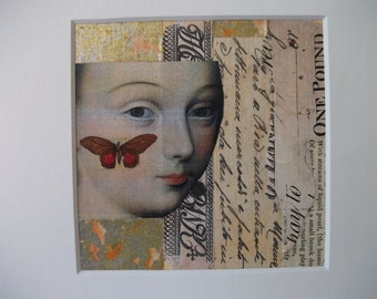 Renaissance Original Abstract Collage Art Mixed Media Italian Woman Butterfly One-of-a-Kind Italian