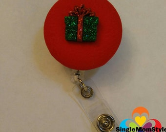 Christmas red fabric covered badge reel name tag holder with plastic present