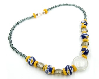 Ghanaian ceramic beads and glass beads necklace (N005)