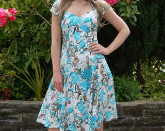 50's Vintage Inspired Cotton Dress Occasion Wedding Party Blue Print