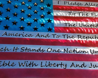 USA Flag with Pledge of Allegiance.