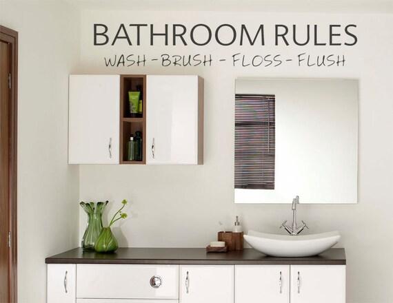 wall sticker bathroom rules wash brush floss flush wall art
