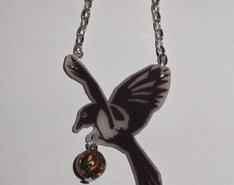 Magpie Necklace Thief - shrink plastic bird with multi coloured bead