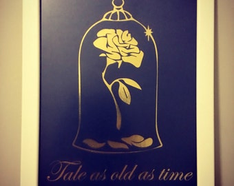 "Ready to frame Disney inspired Enchanted Rose from Beauty and the Beast ""Tale as old as time"" foil print"