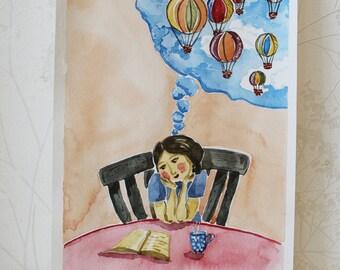 Original Watercolor Illustration, Dreams, Air Balloons, Акварельная иллюстрация, Воздушные шары