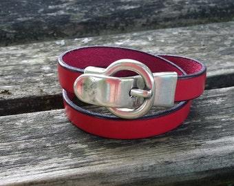 Woman leather bracelet double serpentine