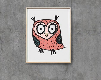 Owl Prints, Digital Prints, Hand Drawn Prints, Instant Download, Nursery Prints, Printable, Owl Illustration, Owl Art, Pink,Owls, Wall art