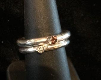 Sterling Silver/Swarovski Stack Rings (Sold Separately)