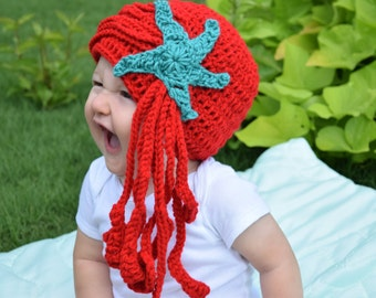 Little mermaid ariel crochet hat