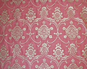 Mariano Fortuny Veronese Raspberry & Silvery Gold Designer Fabric by the yard