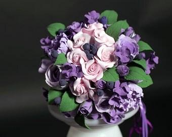 Alternative Bouquet, Purpel Violet Wedding bouquet +SET of Groom boutonnieres & Bride hairclip, Deco Clay flowers, Handmade Clay bouquet