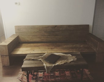 Custom barn beam couch