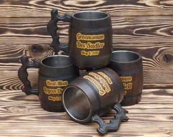 Groomsmen Gifts Set of 4 Wooden Beer Mugs Personalized Wooden Mugs Groomsman Beer Stain Gift for Usher Best Man Tankard Personalized Mugs