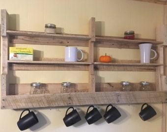 Rustic Kitchen Coffee Cup Shelf