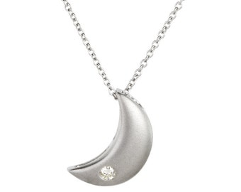 "14k white gold diamond ""Crescent Moon"" pendant"