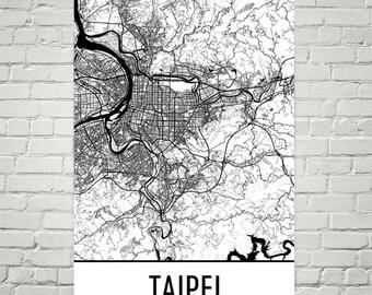 Taipei Map, Taipei Art, Taipei Print, Taipei Taiwan Poster, Taipei Wall Art, Taipei Gift, Map of Taipei, Birthday, Taipei Decor, Art Print