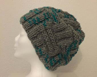 Beanie Hat grey turquoise extra warm rough - knit