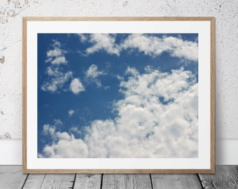 Blue Sky Photograph, Carolina Blue, Clouds, Kids Art, Nursery Decor