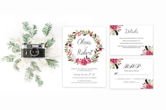 Floral wedding invite word_57,INSTANT DOWNLOAD, Editable Wedding template invitation. Microsoft Word template.Wedding Printable