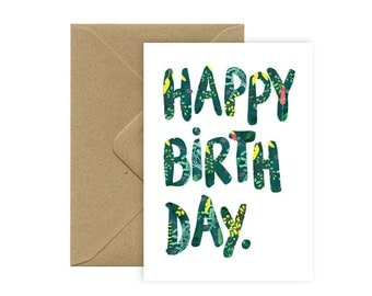 A6 card - HAPPY BIRTHDAY - was - pattern flowers
