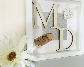 Personalised initial frame, wedding keepsake gift, annivserary present, personalised wedding gift, gift for couples, personalised home decor